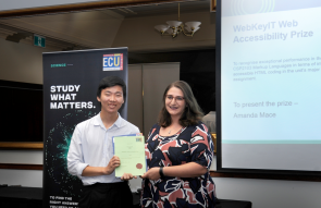 Amanda Mace presenting the award to Woongyeol Choi at the ECU School of Science Prize Giving Ceremony