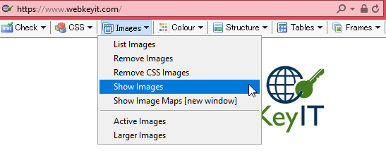 Screenshot of the WAT toolbar with Show Images highlighted