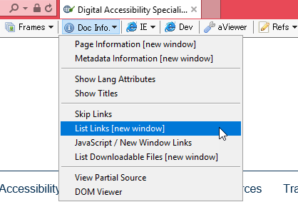 Screenshot of the WAT toolbar with List Links highlighted